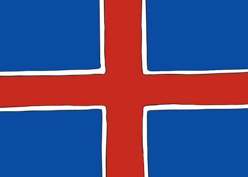 Symmetrical Nordic Cross Flag for Iceland