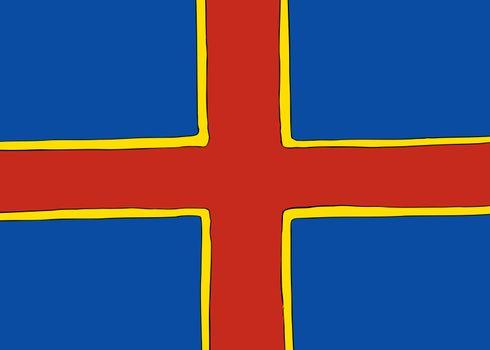 Symmetrical Nordic Cross Flag for Ahvenanmaa