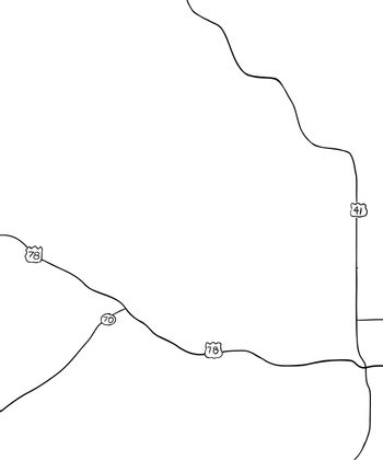Outlined map of county roads in Georgia