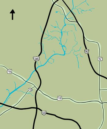 Chattahoochee River and various highways