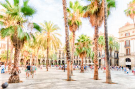 Defocused background of Placa Reial in Barcelona, Catalonia, Spa