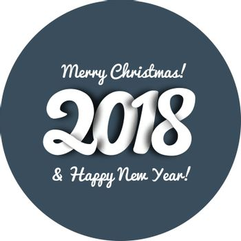 Congratulations on the new year 2018 in trend style with overlapping figures and shadow effect. Vector illustration