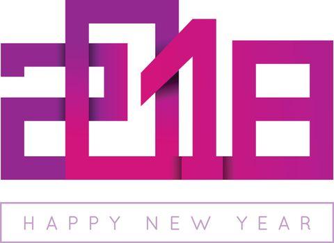 2018 Happy New Year congratulation. Origami paper cut vector illustration