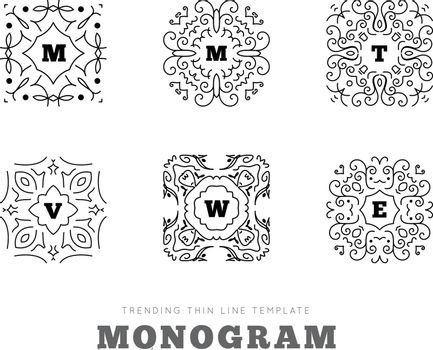 Monogram series with letters on white background. Vector illustration