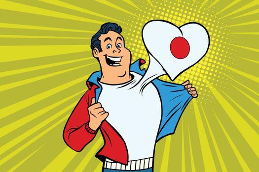 Japan patriot male sports fan flag heart
