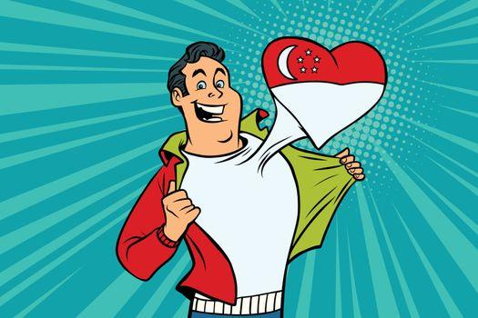 Singapore patriot male sports fan flag heart