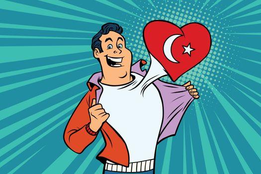 Turkey patriot male sports fan flag heart