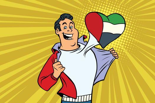 UAE patriot male sports fan flag heart