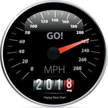 2018 year Calendar speedometer car. Vector illustration