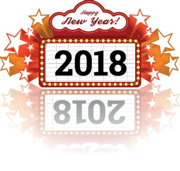 New Year marquee 2018. Vector illustration on white