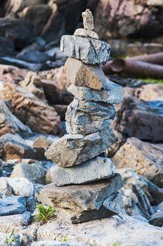 piled up stones on the Maine coastline, Usa
