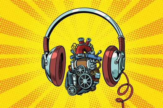 Headphones and steampunk heart motor