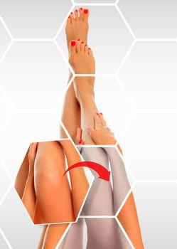 Care for beautiful female legs' skin. Skincare treatment concept