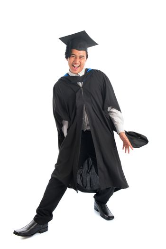 Graduate university student in excitement
