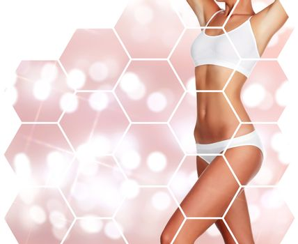 Beautiful woman's body against an abstract background with copyspace, body care concept