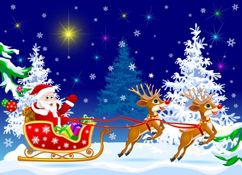Santa Claus and deer in the winter forest on the eve of Christmas.                                                                                                                   Santa Claus on his sleigh, harnessed by deer. Santa Claus with gifts on his sleigh.