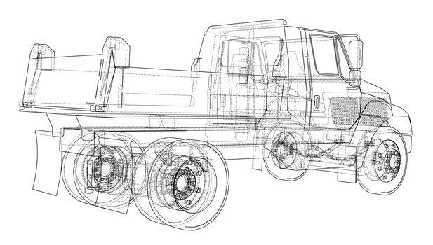 Dump truck. Vector