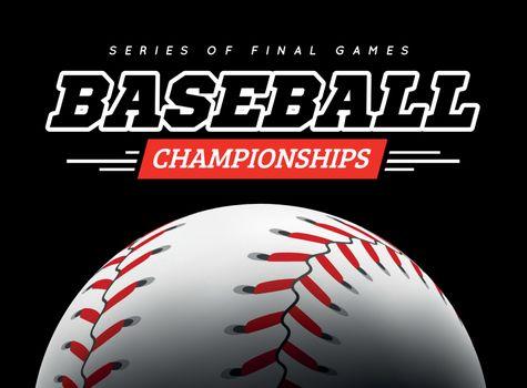 Baseball ball in the backlight on black background. Vector illustration