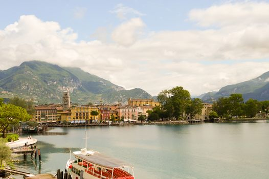 View of Lake Garda and the city of Riva del Garda in Italy
