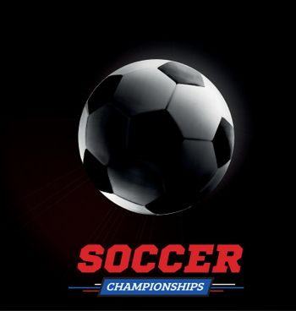 Soccer or football ball ball in the backlight on black background. Vector illustration