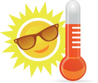 Cheerful, smiling cartoon sun in sunglasses next to the temperature thermometer. Vector illustration