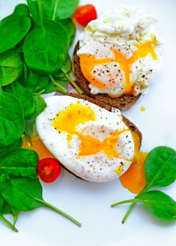 Tasty poached eggs