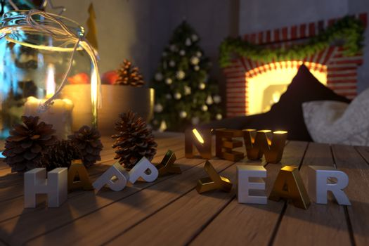 happy new year and christmas background closeup composition photo