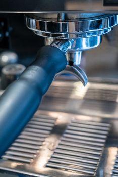 Expresso coffee machine close up