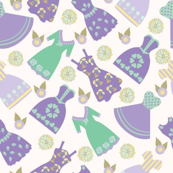 Vector illustration background   with various women's clothing fashion dresses. Graphic hand-drawn cute of dresses