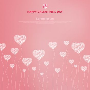 Happy valentines day with White hand drawn hearts on pink background. Copy space. Vector illustration