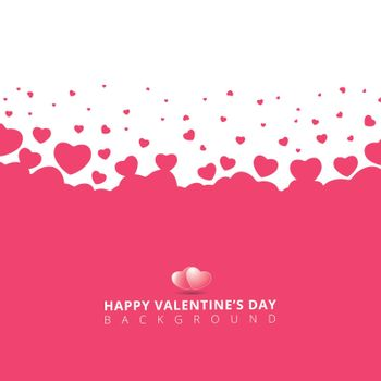 Pink hearts futuristic random size on white background for valentines day. Vector Illustration.