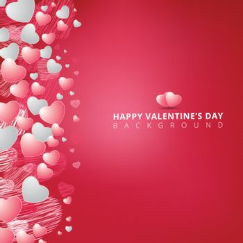 hand drawing hearts white and pink color on pink background for valentines day copy space. Vector illustration