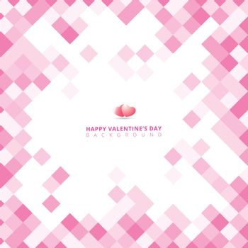 Abstract geometric square pink color pattern background with copy space for valentines day, wedding card. Vector illustration