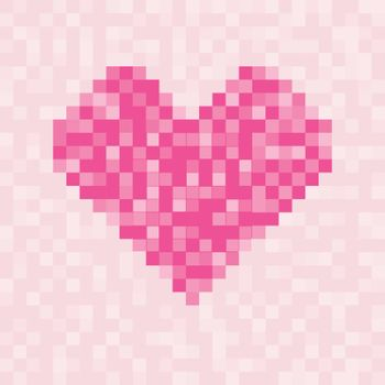 Pixel pink heart symbol square pattern for valentines day. Vector illustration