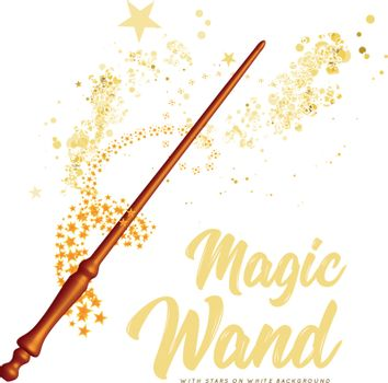Wooden magic wand with stars on white background. Vector illustration