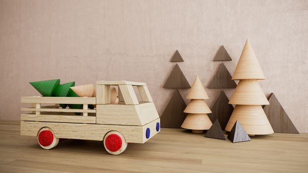 Wooden toy with car christmas holiday photo with pine trees happy new year