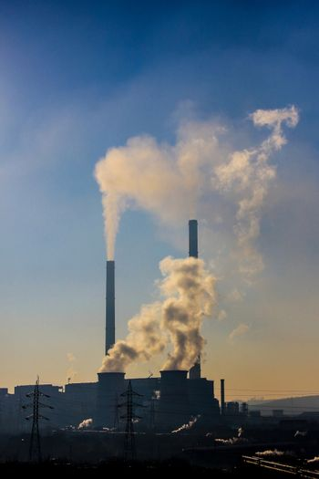 Thick smoke Air pollution from high and low furnaces  in an indu