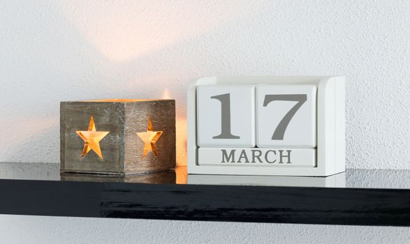White block calendar present date 17 and month March