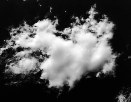 Isolated white clouds on black sky background. Cloud. Black Sky
