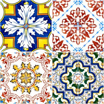 Colorful vintage ceramic tiles wall decoration.