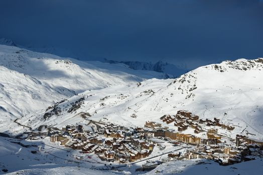 When storm snow comes in Val Thorens