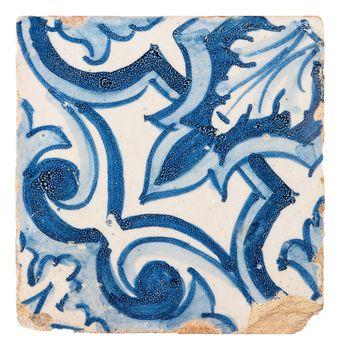 Old ceramic tile isolated on white background.