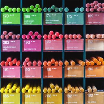 Colorful pencils with color name and number for sale at drawing equipment shop