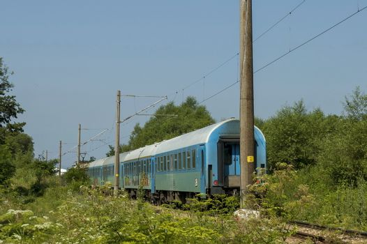 The train electric is pulling at the station, Central Balkan mountain, Stara Planina