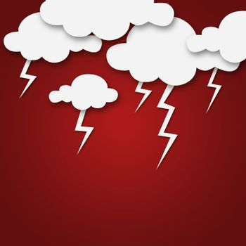 Set of various white clouds on red background