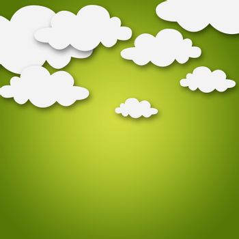 Set of various white clouds on yellow background
