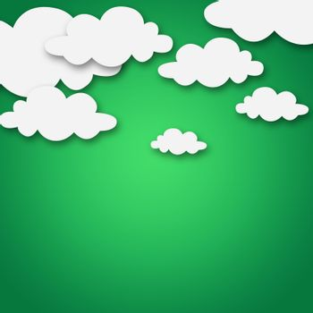 Set of various white clouds on green background