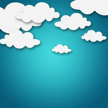 Set of various white clouds on blue background