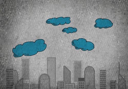 Conceptual vector image with buildings and skyscrapes