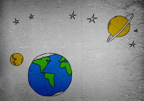 Background image with drawn Earth planet on wall